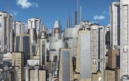 Городской пейзаж с футуристическими небоскребами иллюстрация штока