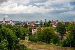 Городской пейзаж с церков, башня Вильнюса Gediminas в предпосылке Литва Стоковые Фотографии RF