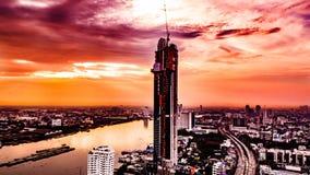 Городской пейзаж Таиланд Рекы Chao Praya Бангкока Стоковое Фото