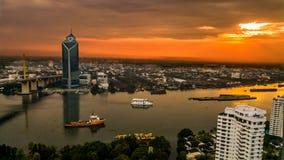 Городской пейзаж Таиланд Рекы Chao Praya Бангкока Стоковая Фотография RF