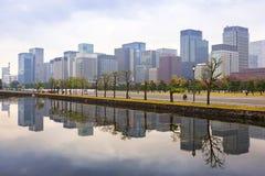 Городской пейзаж токио с осенним парком Стоковое Изображение
