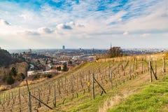 Городской пейзаж Турина, Турин, Италия на заходе солнца, панораме от виноградника Сценарный красочный свет и драматическое небо Стоковое Фото