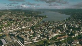 Городской пейзаж Цюрих и озеро, вид с воздуха r акции видеоматериалы