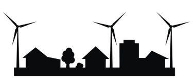Городской пейзаж, электрическая станция энергии ветра, черный силуэт Стоковые Изображения