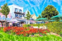 Городской пейзаж Warnemunde с домами fisher магазинов традиционными Небольшо иллюстрация штока