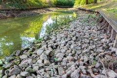 Городской пруд с уровнем отлива в сухом периоде стоковые изображения rf