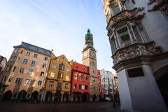 Городской центр Инсбрука в старом городке Инсбруке, Тироле, Австрии стоковые фото