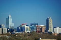 Городской Raleigh, горизонт здания метро Северной Каролины стоковое фото