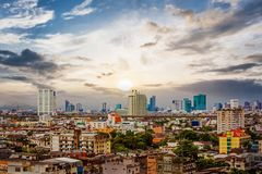 Город Бангкока на twilight времени Стоковое фото RF