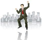 город большого бизнесмена счастливый Стоковая Фотография