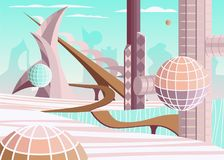 Город будущего с летать сферически дома Стоковые Изображения
