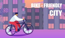 Город велосипеда дружелюбный Образ жизни деятельности при спорт иллюстрация штока