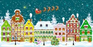 Город в ноче зимы Стоковое Изображение RF