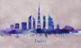 Город в Объениненных Арабских Эмиратах, горизонт Дубай иллюстрация вектора