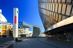 Город глобуса Стокгольма Внешние фасады взгляда на улице Стоковые Изображения RF