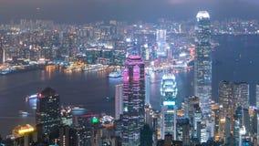 Город Гонконга на взгляд сверху ночи от пика Виктории, timelapse сток-видео
