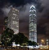 Город горизонта Hong Kong на ноче Стоковое фото RF