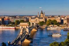 Город городского пейзажа захода солнца Будапешта Стоковые Фотографии RF