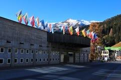 Город Давос, конгресс-центр, форум Мировое, швейцарец Альпы Стоковая Фотография RF