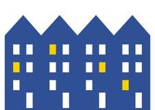 Город, дома строки с окнами, значком сети вектора Стоковые Фотографии RF