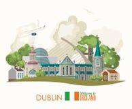 Город Дублина Карточка с ориентир ориентирами, ирландский замок дизайна вектора Ирландии плоская, зеленые поля бесплатная иллюстрация