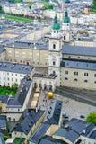 Город Зальцбурга от высокой точки зрения в форте и castl Зальцбурга Стоковое Изображение RF