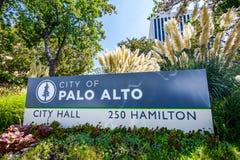 Город знака Пало-Альто стоковое фото rf