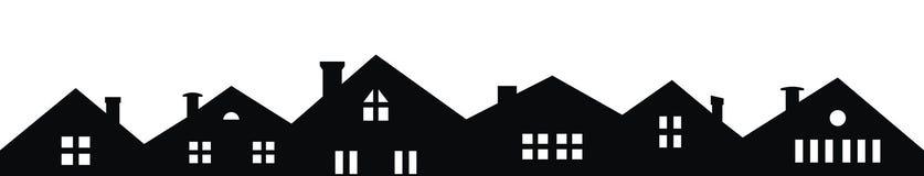 Город, значок вектора, предпосылка, черно-белый силуэт иллюстрация штока