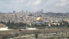Город Иерусалима, Израиля старый на западной стене и купол утеса акции видеоматериалы