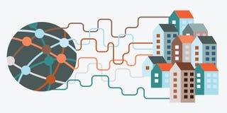 Город интернет-связи Стоковая Фотография