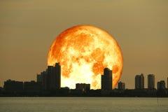 город и ночное небо силуэта супер планеты луны сена крови задние стоковая фотография