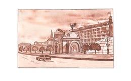 Город Киев панорамы иллюстрации акварели Столица Украины Стоковое Фото