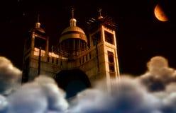 Город красной луны Стоковые Фотографии RF
