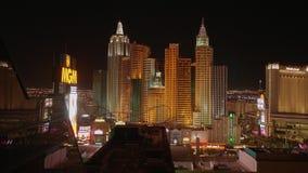Город Лас-Вегас освещает на ноче - изумительных гостиницах на прокладке Лас-Вегас - США 2017 видеоматериал