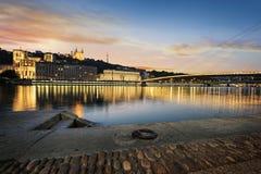 Город Лиона к ноча стоковое изображение