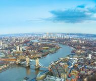 Город Лондона, вид с воздуха с мостом башни Стоковое фото RF