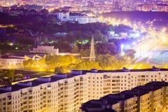 Город Минска на антенне ночи Взгляд ночи столицы в Беларуси стоковое фото