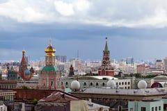 Город Москвы на дождливом дне Стоковое Изображение