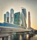 Город Москвы на заходе солнца Стоковые Изображения RF