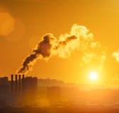 город над дымом Стоковые Фотографии RF