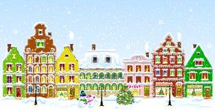 Город накануне рождества Стоковые Изображения