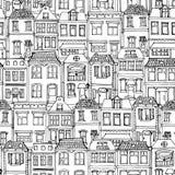 Город нарисованный рукой европейский расквартировывает безшовную картину Милая иллюстрация вектора стиля шаржа Современный эскиз  Стоковые Изображения RF