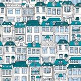 Город нарисованный рукой европейский расквартировывает безшовную картину Милая иллюстрация вектора стиля шаржа Красочное современ Стоковые Изображения