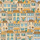 Город нарисованный рукой европейский расквартировывает безшовную картину Милая иллюстрация вектора стиля шаржа Красочное современ Стоковое Изображение RF