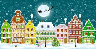 Город на Рожденственской ночи Стоковая Фотография