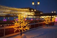 Город на рождестве Стоковые Изображения RF