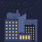 Город ночи Изображение домов с включенным светом в квартирах Силуэты домов за главными домами иллюстрация вектора