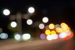 Город ночи освещает bokeh Справочная информация Стоковые Изображения RF