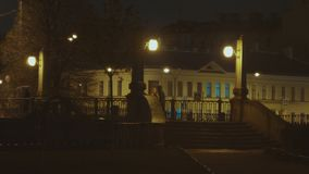 Город ночи с фонариками и мостом сток-видео