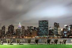 город освещает новый горизонт york ночи Стоковая Фотография